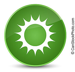 Sun icon elegant soft green round button