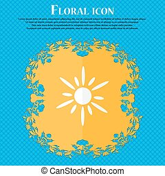 Sun icon. Floral flat design on a blue abstract background with place for your text. Vector