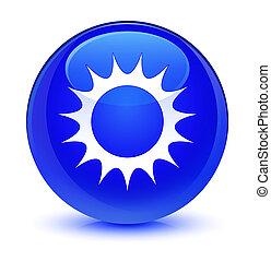 Sun icon glassy blue round button