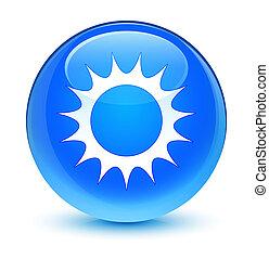 Sun icon glassy cyan blue round button