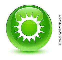 Sun icon glassy green round button