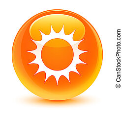 Sun icon glassy orange round button