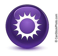 Sun icon glassy purple round button - Sun icon isolated on ...