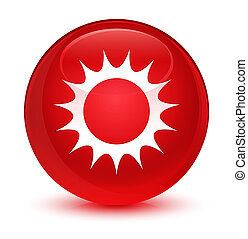 Sun icon glassy red round button - Sun icon isolated on ...