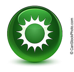 Sun icon glassy soft green round button