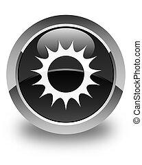 Sun icon glossy black round button