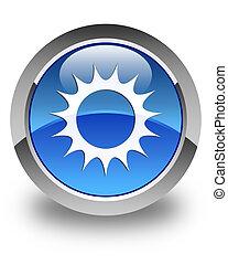 Sun icon glossy blue round button