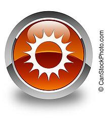 Sun icon glossy brown round button