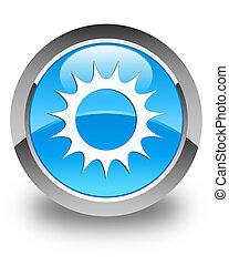 Sun icon glossy cyan blue round button