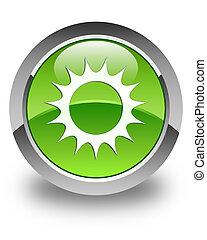Sun icon glossy green round button