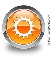 Sun icon glossy orange round button