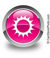 Sun icon glossy pink round button