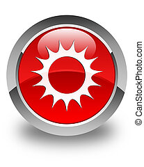 Sun icon glossy red round button