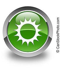 Sun icon glossy soft green round button