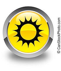 Sun icon glossy yellow round button