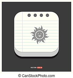 Sun Icon Gray icon on Notepad Style template Vector EPS 10 Free Icon