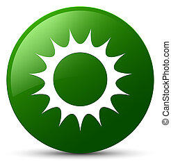 Sun icon green round button
