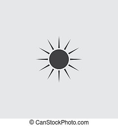 Sun icon in a flat design in black color. Vector illustration eps10