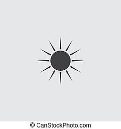 Sun icon in a flat design in black color. Vector illustration eps10