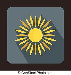 Sun icon in flat style