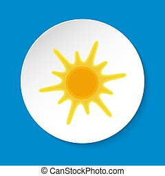 Sun icon in flat style on round button