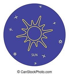 Sun icon in thin line style