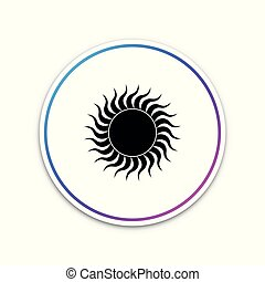 Sun icon isolated on white background. Circle white button. Vector Illustration