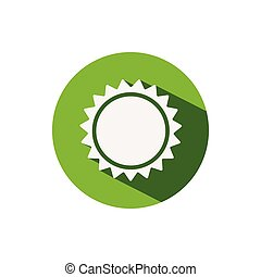 Sun. Icon on a green circle. Weather vector illustration