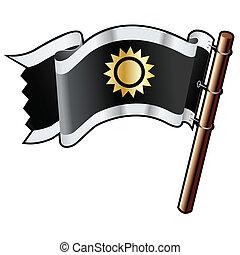 Sun icon on black flag