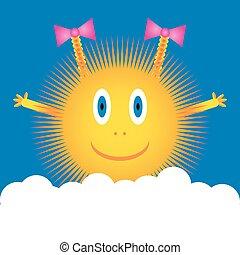 Sun icon on blue sky.