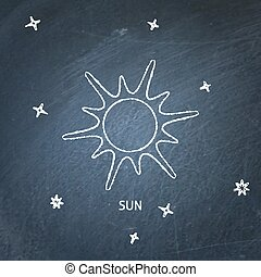 Sun icon on chalkboard