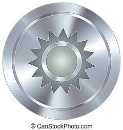 Sun icon on industrial button
