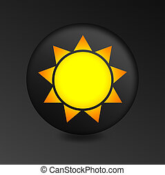 Sun Icon on Round Black Button.