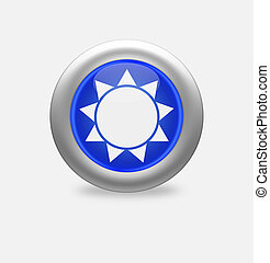 Sun Icon on round blue button.