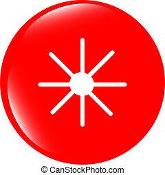 Sun icon on round button collection original illustration