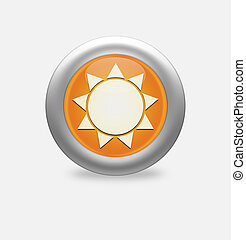 Sun Icon on round orange button.