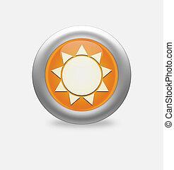 Sun Icon on round orange button.