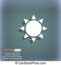 Sun icon. On the blue-green abstract background with shadow and space for your text. Vector