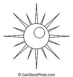Sun icon, outline style.