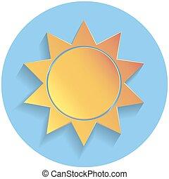 Sun icon, paper style