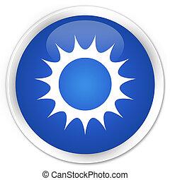 Sun icon premium blue round button
