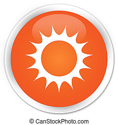 Sun icon premium orange round button