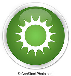 Sun icon premium soft green round button