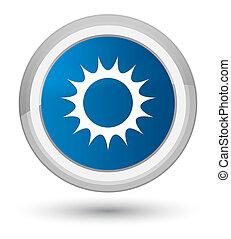 Sun icon prime blue round button
