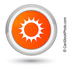 Sun icon prime orange round button