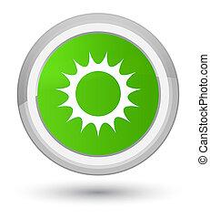 Sun icon prime soft green round button