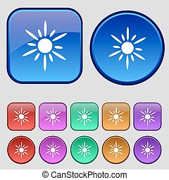 Sun icon sign. A set of twelve vintage buttons for your design. Vector