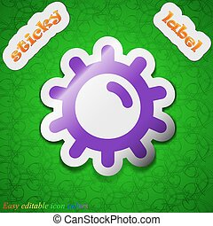 Sun icon sign. Symbol chic colored sticky label on green background. Vector