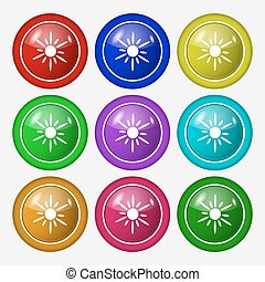 Sun icon sign. symbol on nine round colourful buttons. Vector