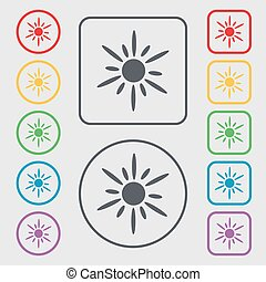 Sun icon sign. symbol on the Round and square buttons with frame. Vector